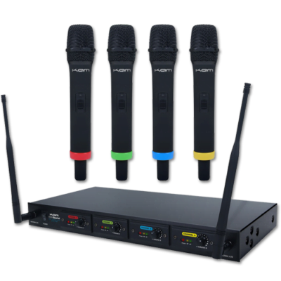 KAM Quartet 4 x USB rechargeable microphone UHF wireless system