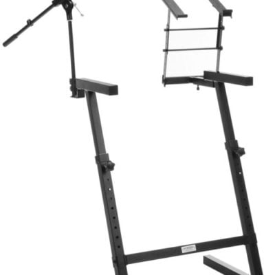 kws-100 keyboard stand with microphone stand and laptop holder