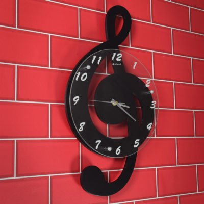 Chord Treble Clef Music Wall Clock Black