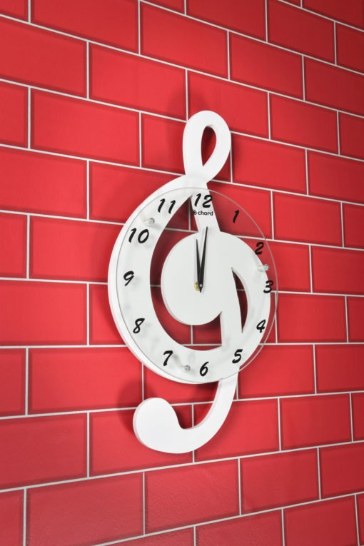 Chord Treble Clef Music Wall Clock White