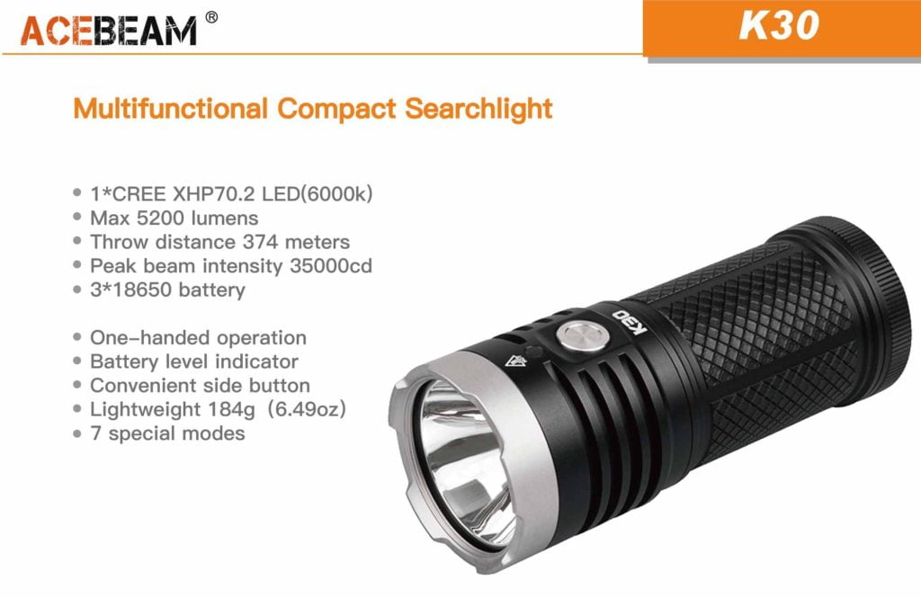 Acebeam K30 XHP 70.2 5200 lumens LED Flashlight