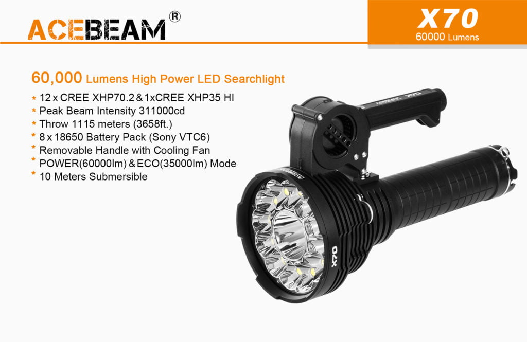 Acebeam X70 Flashlight Searchlight