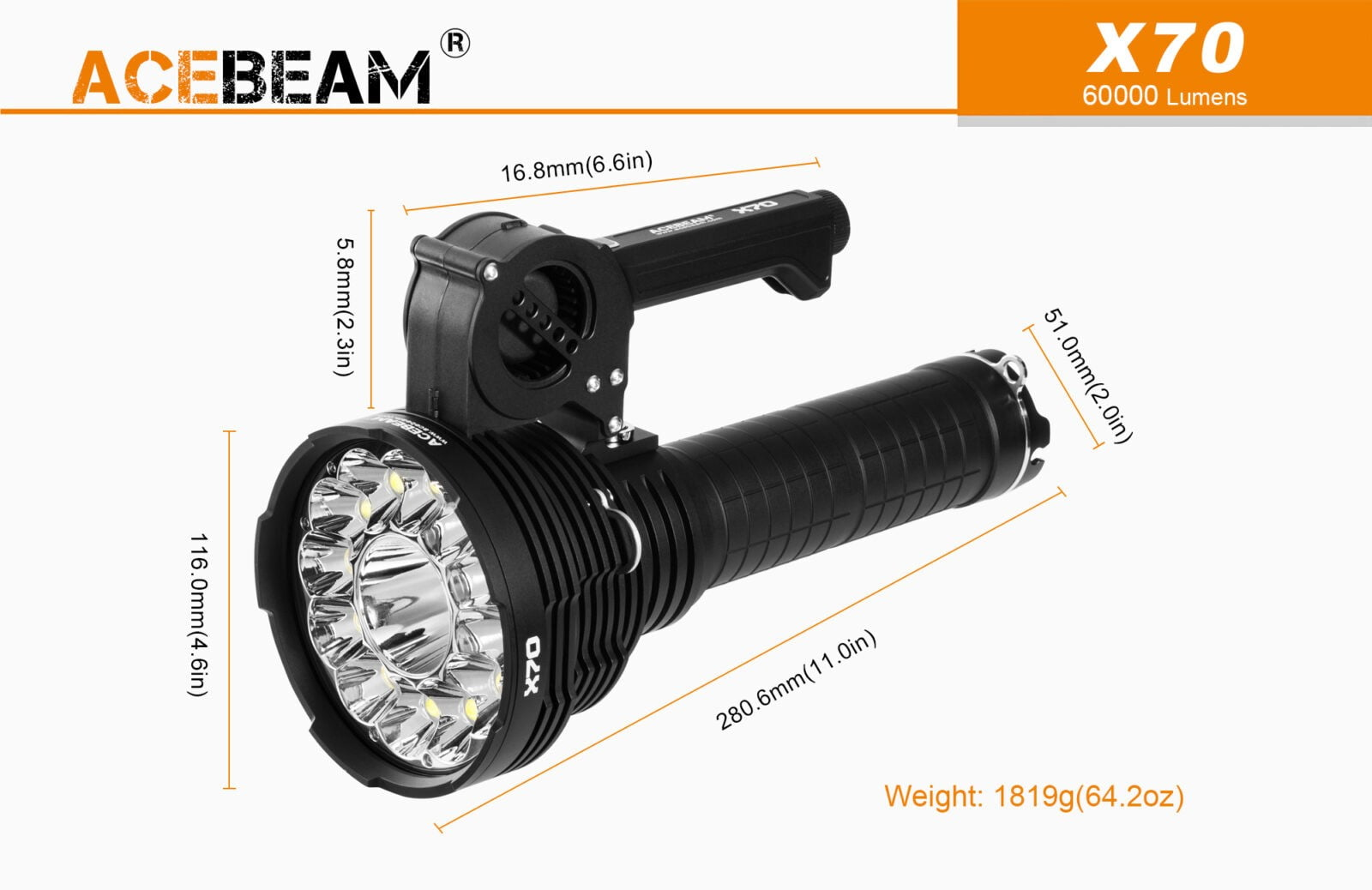 Acebeam X70 Flashlight Torch Searchlight measurements