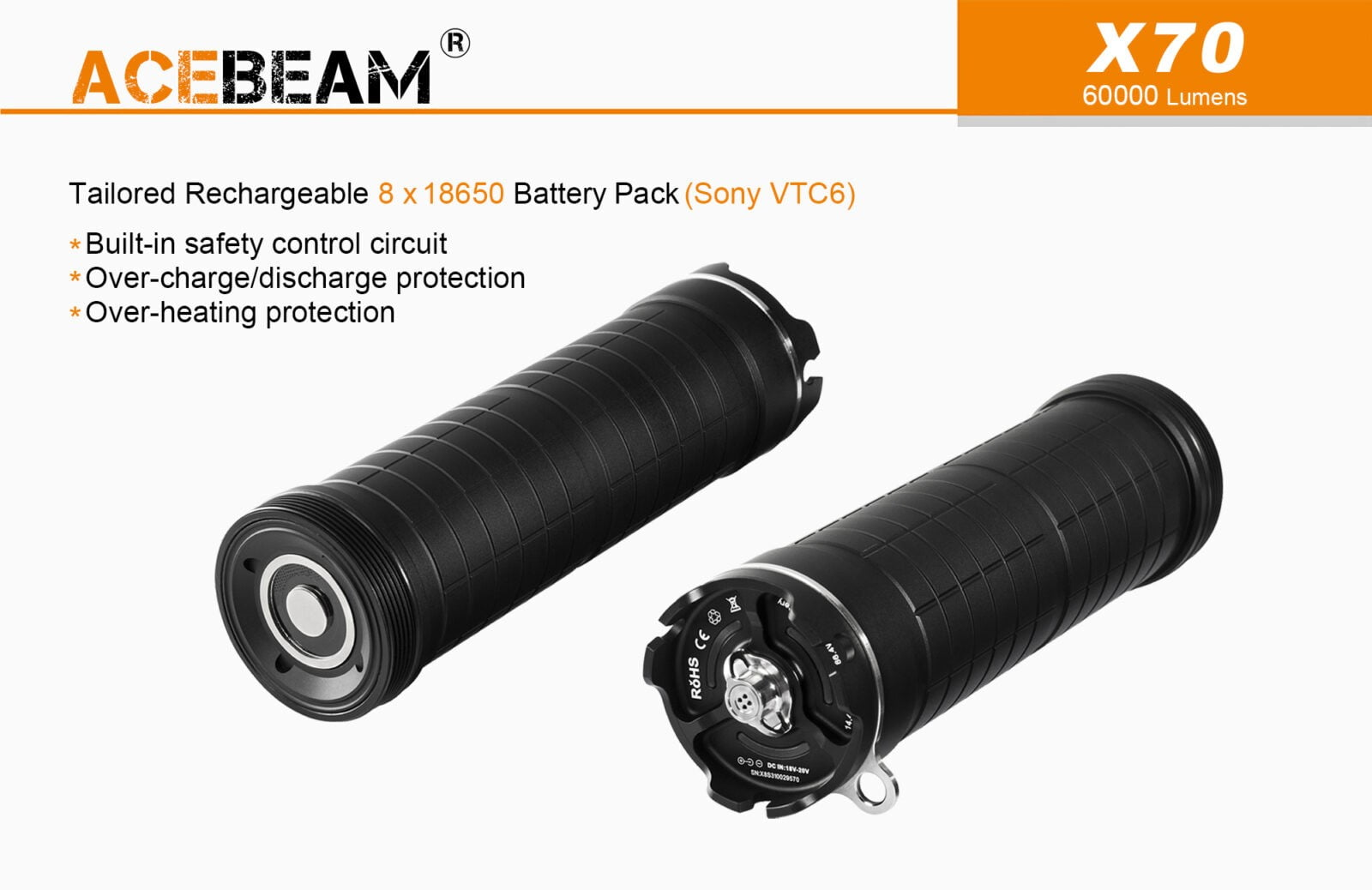 Acebeam X70 Flashlight battery pack