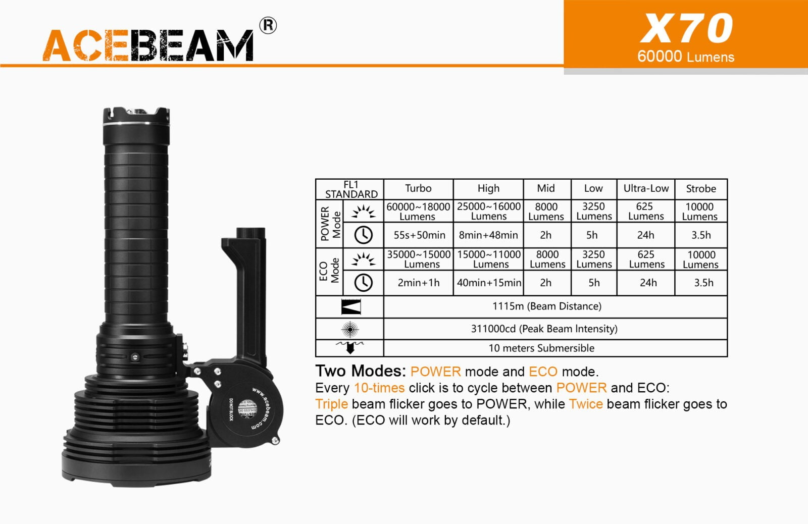 Acebeam X70 Flashlight Torch Searchlight